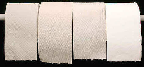 Comparison of four rolls of toilet paper made of different types of tissue. Visual guide on ... rel=