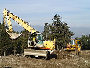 Heavy machines working in Pirin National Park. Work of heavy machines is forbidden in national parks by law.