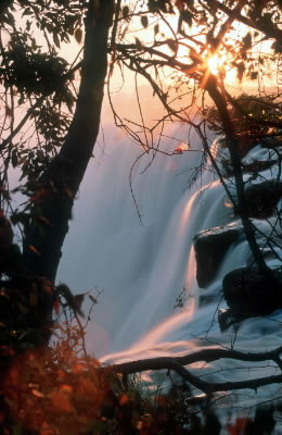 Victoria Falls at sunset, seen from the Zambian side.  	© WWF / Martin HARVEY
