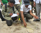 Training on animal track identification in Phnom Tamao Rescue center.