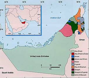 Map showing the location of the UAE in the Middle East.  	© WWF