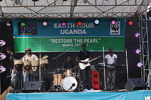 The stage set up for Eearth Hour 2013 Concert - WWF Uganda