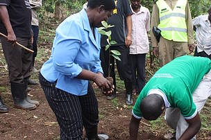 State Minister for Water and Environment planting the first tree in the Earth Hour Forest