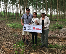 Marcel Cote, strategic marketing director, label and graphic materials, Avery Dennison South Asia Pacific and Sub Saharan Africa; Cindy Chia, corporate account manager, WWF-Singapore; and Alicia Procello, president, Avery Dennison Foundation visit the site for Avery Dennison's responsible forestry program in Thua Thien Hue province, Vietnam.
