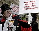 Vampires ventured into the daylight to protest about the widespread contamination of blood.