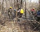 Rangers working in the prevention of fire reactivation in the Protected Area Otuquis in the Pantanal, Bolivia