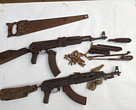 Weapons and tools seized from poachers in Salonga