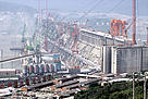 Construction site of the Three Gorges dam on the Yangtze river, China.