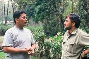 Purna Kunwar (left) with Shiva Raj Batta, Chief Warden of Royal Chitwan National Park.