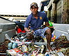 Local fisherman with a spear gun, Suva, Fiji