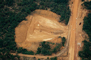 Aerial view over the tropical rainforest showing deforestation as a result of industrial logging, Manaus, Amazonas, Brazil.