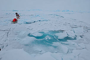 Ann Daniels crossing an area of rough ice, Catlin Arctic Survey