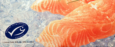 An MSC  label on a package of frozen salmon indicates that it is certified sustainable seafood. rel=
