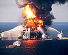 The Deepwater Horizon oil rig on fire.