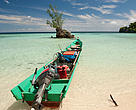 Shark fishing boat with hooks lined up. Misool, Raja Ampat, Indonesia.
