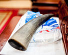 A rhino horn for sale on the table of a black market animal trade dealer at his home in Hanoi, Vietnam