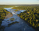 Aerial view of Juruena River and Salto Augusto Falls, Amazon, Brazil.  WWF Juruena Expedition 2013