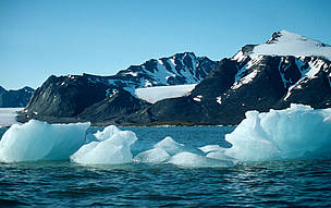 Calving glaciers in the summer in Arctic waters.