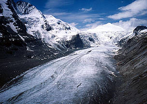 Pasterze Glacier lies in the Hohe Tauern mountain range of the Austrian Alps.