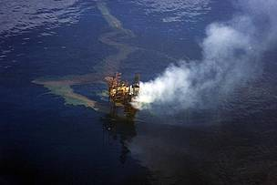 The West Atlas Oil Rig leaking oil into the Timor Sea, off the northwest coast of Australia.