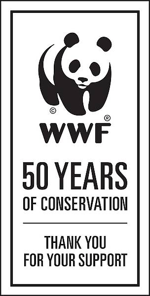 wwf 50th panda logo badge  	© WWF