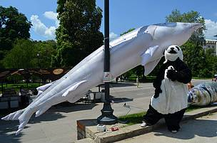 WWF panda and Inflatable sturgeons take to the streets of Sofia on World Fish Migration Day