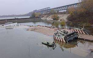 Sunken ship at Ruse port, Danube river, Bulgaria