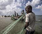 Fishermen gather seine nets from the water on the Ilha de Mafamede, Mozambique.
