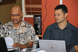 WWF-Pacific's sustainable fisheries and seafood fisheries officer, Seremaia Tuqiri and sustainable fisheries and seafood programme manager, Duncan Williams part of the forum.