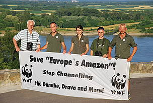 Activists from WWF, Euronatur and the Croation Society for the Protection of Birds and Nature protest the channeling of the the Danube, Drava and Mura in Croatia.