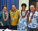 WWF-Pacific Representative Kesaia Tabunakawai, second from right, with David Sheppard the Director General for SPREP on the right and other conservation organisation representatives at the recent Small Islands Developing States meeting in Samoa