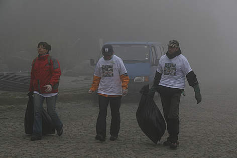 Volunteers with rubbish in Vitosha rel=