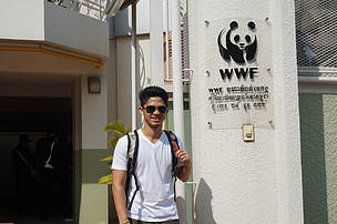 Zarif in front of the WWF Greater Mekong office during the Law Enforcement Meeting in Cambodia