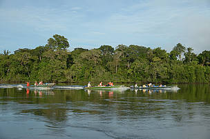 Juruena River Migratory Fish Species Expedition boats, Amazon, 2014.