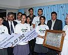 Students handing over a plaque with petition to Rt. Hon. Prime Minister of Nepal Madhav Kumar Nepal