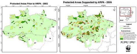 Map showing protected areas in the Amazon prior and post ARPA rel=