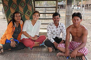 Anne (second from the left) interviews local community members in Mondulkiri Protected Forest.  WWF- Cambodia works with communities to sustainably manage forest resources.