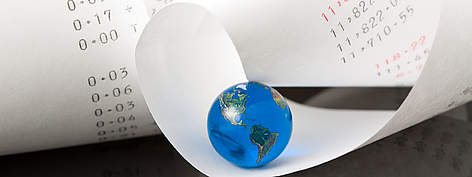 Adding Machine Tape with Bright Blue Globe rel=