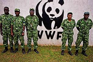 Anti-poaching patrol at the WWF-Gabon office Parcs Gabon Eco guards about to go on anti-poaching patrol stand outside the WWF (with WWF logo) office in Makokou, Gabon.