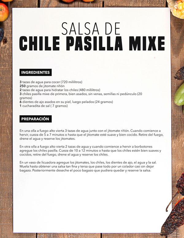 Salsa de mesa de chile pasilla mixe