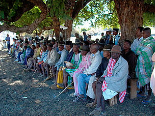 Village elders at the Gift to the Earth Ceremony, Sakoantovo, Madagascar.