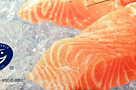 An MSC  label on a package of frozen salmon indicates that it is certified sustainable seafood.