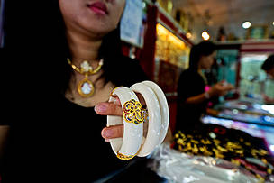 Ivory braclets on sale in Tha Phrachan market, Thailand