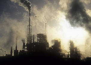 Human right to a healthy environment is at risk from growing pollution. Petrochemical plant on Teeside, UK.
